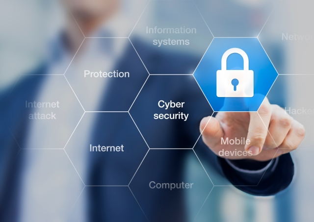 Cyber security concept on virtual screen,  consultant presentation