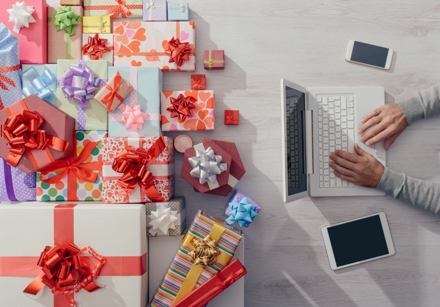 Colorful gifts on a desktop